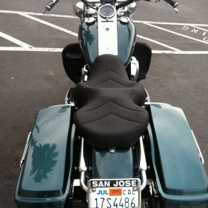 Harley FLHT Basket Weave Vinyl Laam Custom Motorcycle Seats - Vinyl for motorcycle seat
