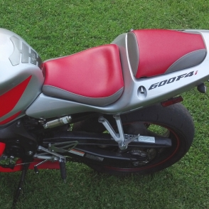 Honda FI Gray Red Vinyl Laam Custom Motorcycle Seats - Vinyl for motorcycle seat